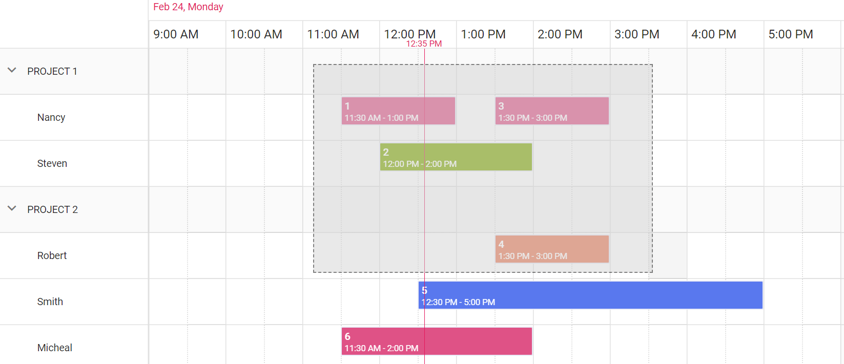 MultiSelection made using mouse in Essential JS 2 Scheduler