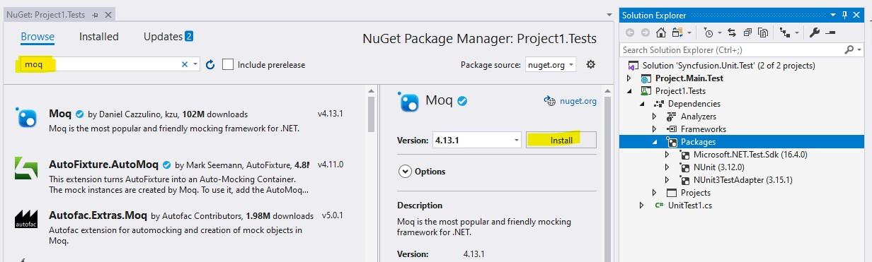 NuGet pack manager