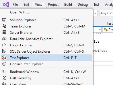 Opening test explorer