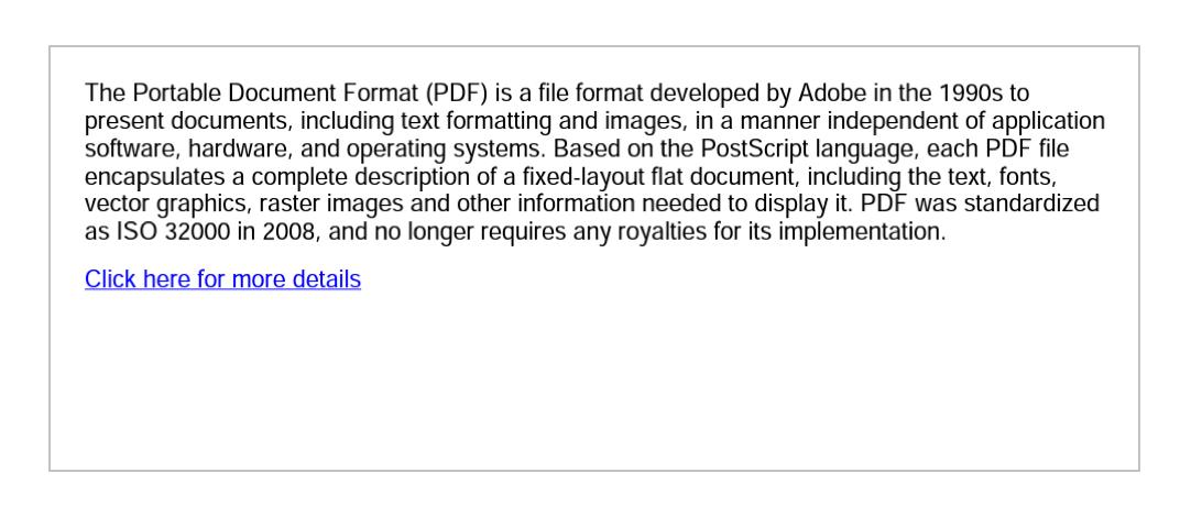 A hyperlink in a PDF file