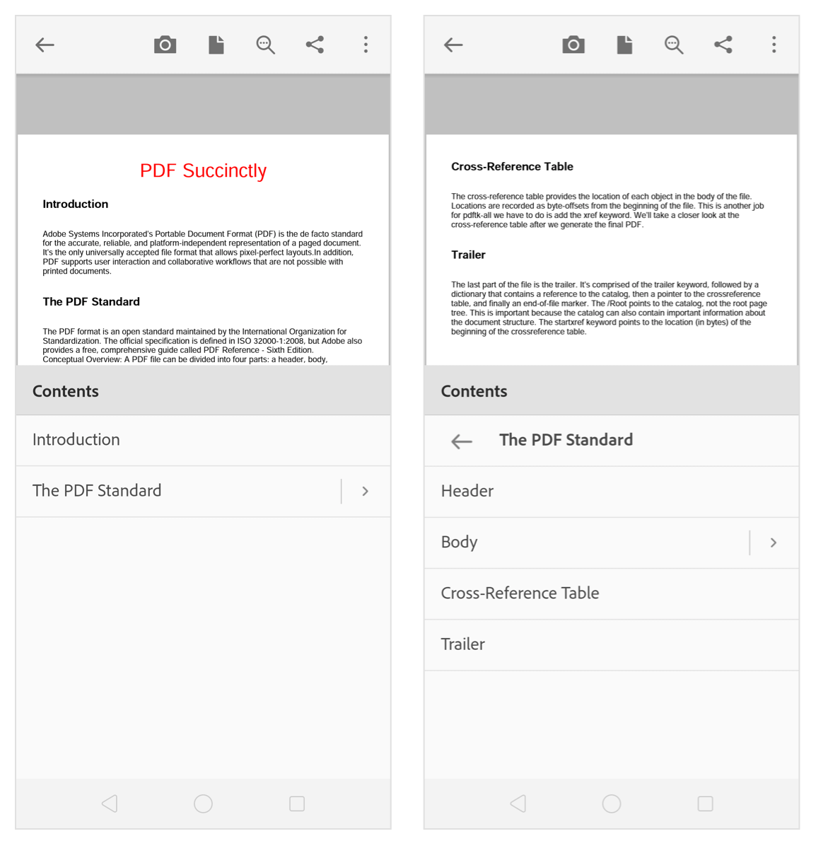 Bookmark added to a PDF file
