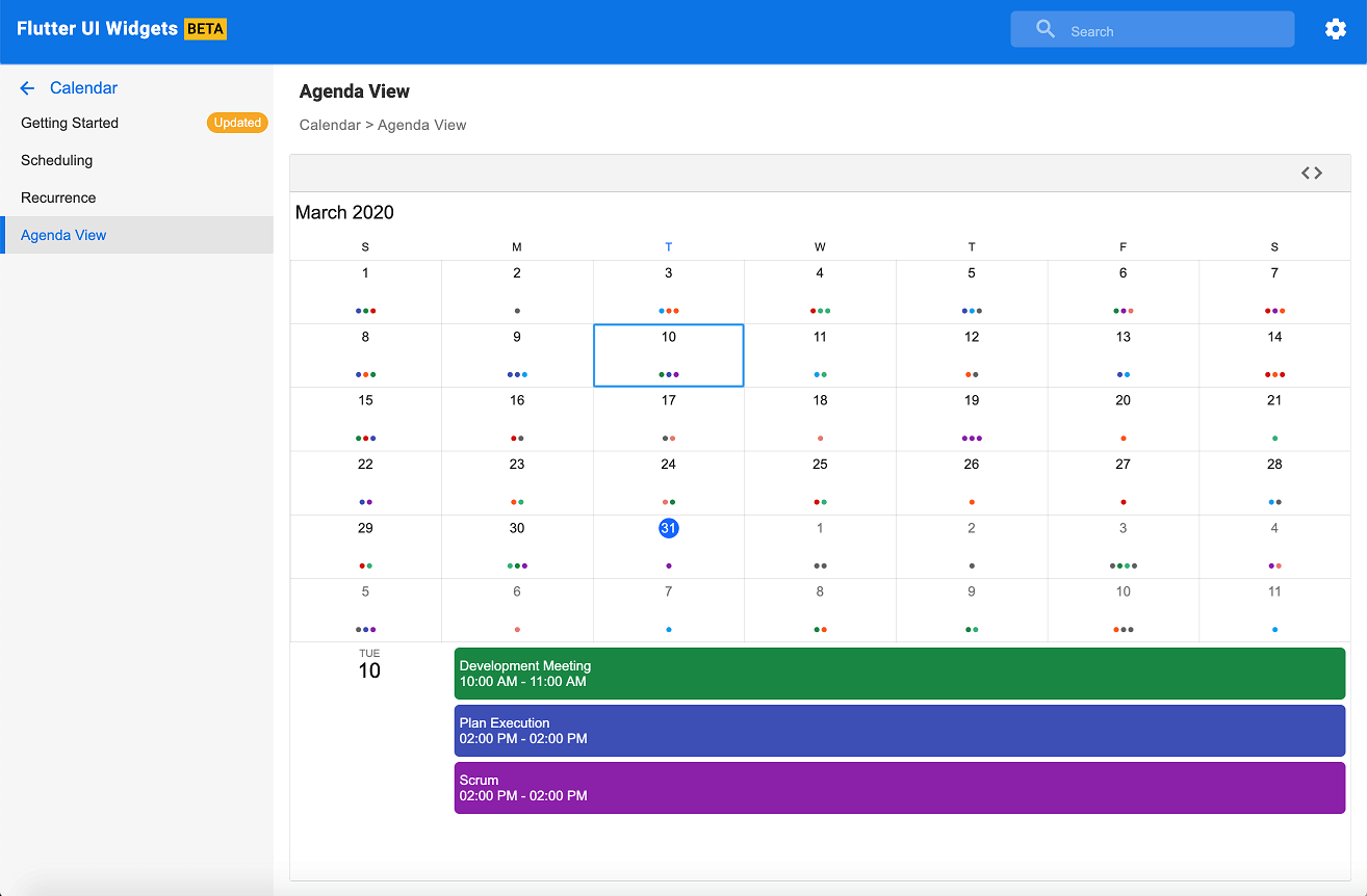 Calendar web demo