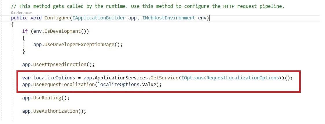 Configure Request Localization Middleware