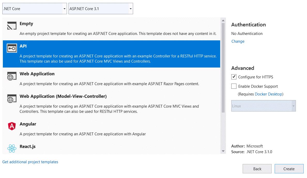 Select .NET Core, ASP.NET Core 3.1, API Template