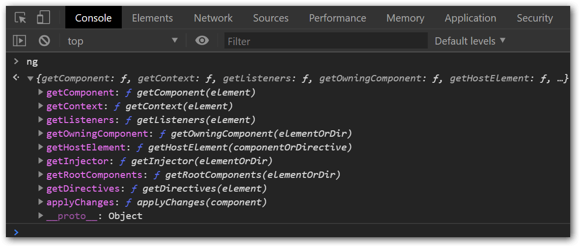 The Global ng Object in the Developer Console