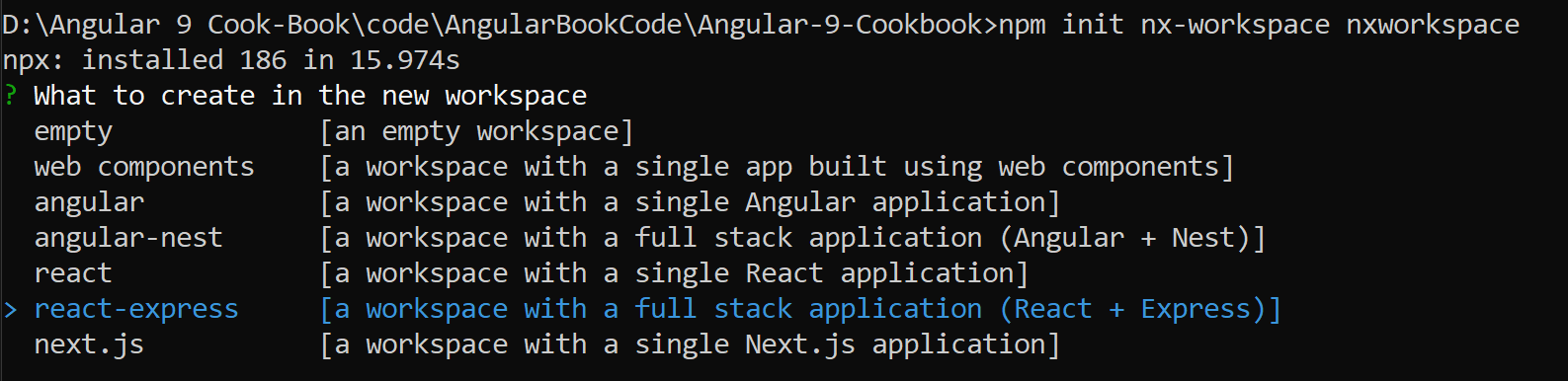 Choose angular in what to create in new workspace window