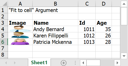 Data filled with fittocell argument