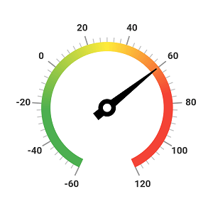 Design needle pointer to indicate current temperature value