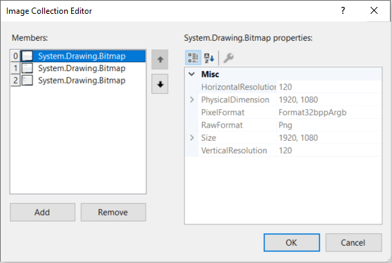 Image Collection Editor dialog