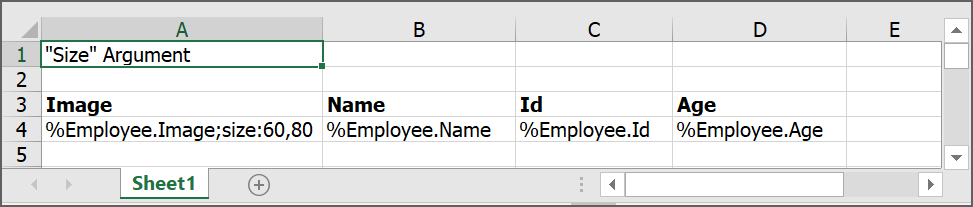 Input template with size argument