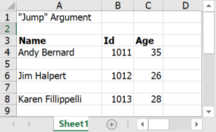 Output file with jump argument