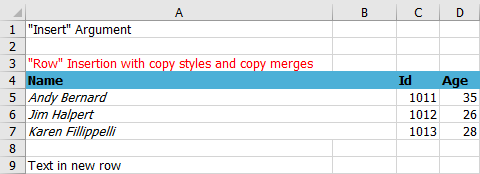 Output of data exported with row insertion