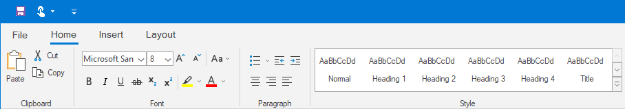 Ribbon control Output Example