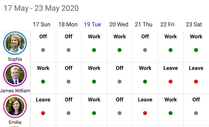 Roster scheduler View