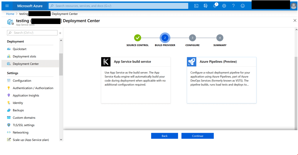 Select Azure Pipeline in the Builder Provider Section