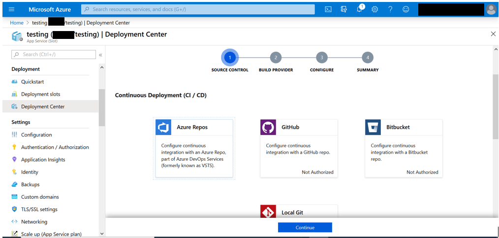 Select Azure Repos as the Source Control