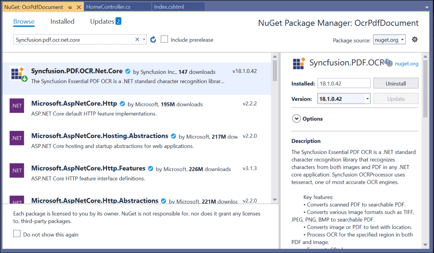 Select Syncfusion.PDF.OCR.NET.Core and install