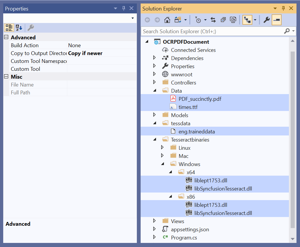 Set Copy to Output Directory to Copy if newer