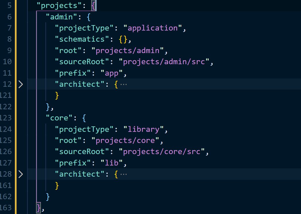 angular.json file containing two project types namely application and library