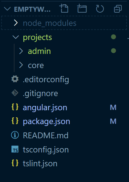 projects segment containing admin and newly created core project