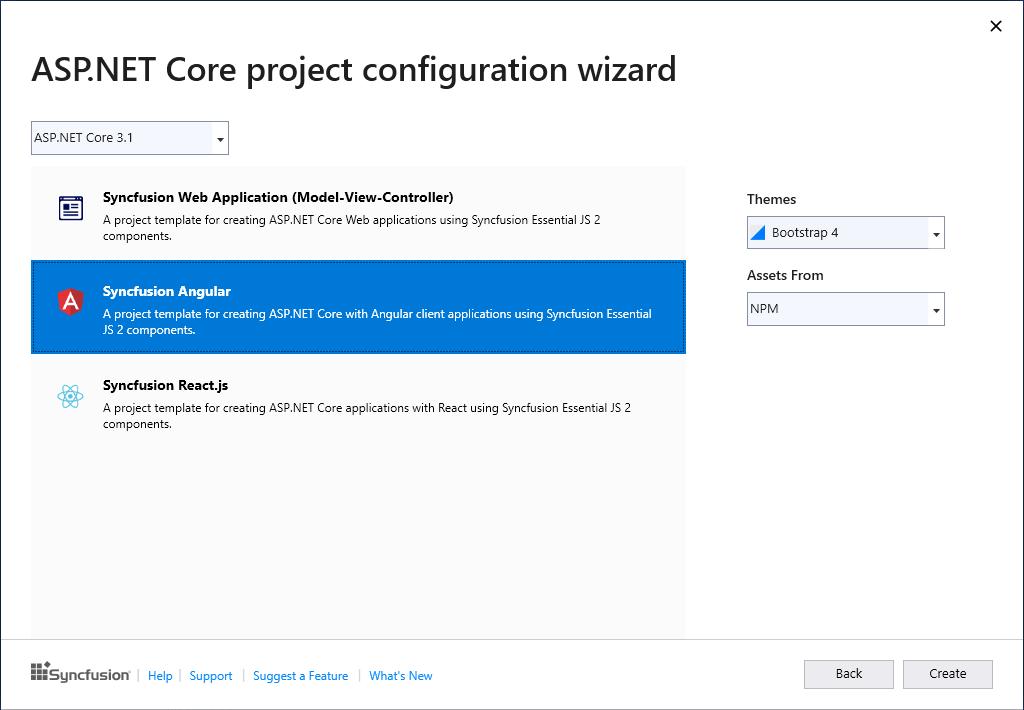ASP.NET Core project configuration wizard dialog