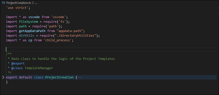 Add a new method ProjectCreation in the ProjectCreation.ts file
