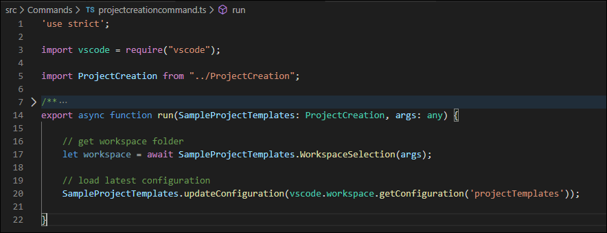 Add the code to get the current workspace location and load the configuration in the projectcreationcommand.ts file