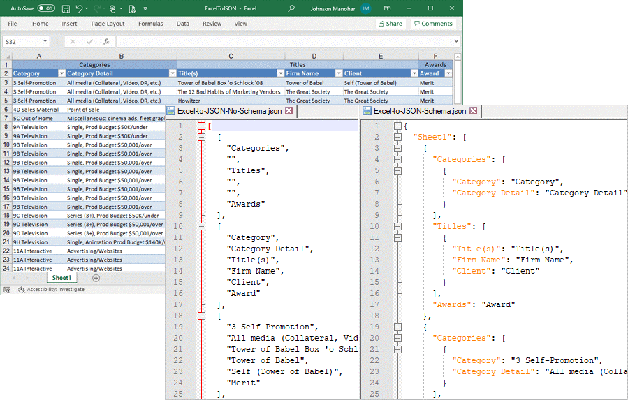 Export Excel data to JSON files
