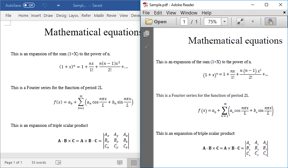 Mathematical equations in Word-to-PDF conversion