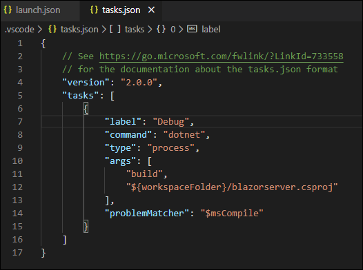 Modify the tasks.json file