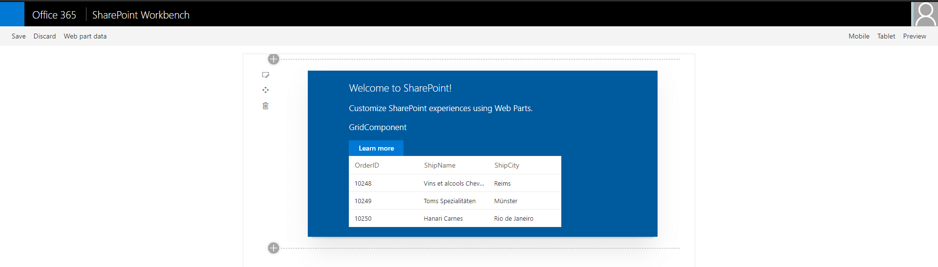 Output showing Syncfusion JavaScript Grid control rendered in SharePoint Framework client-side web part