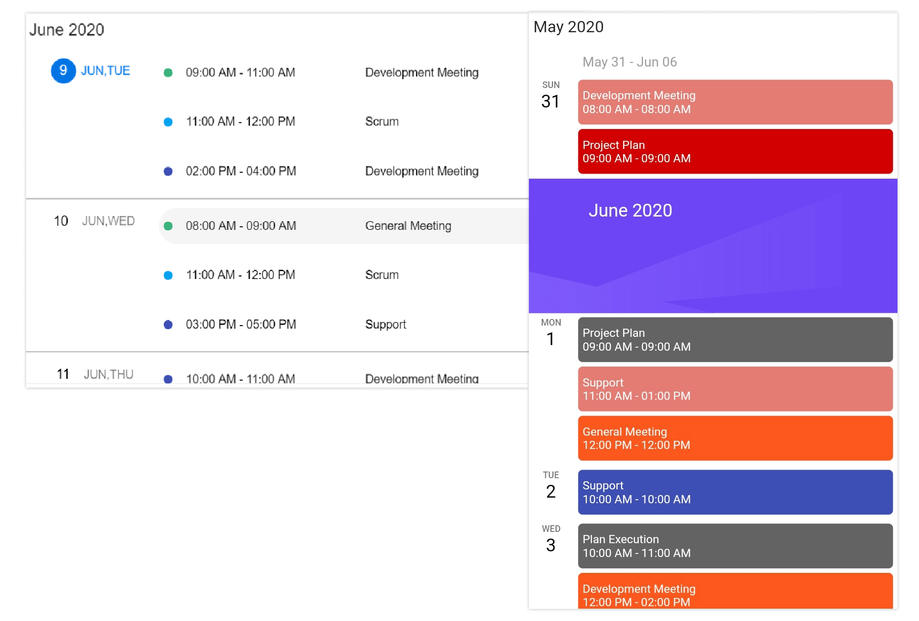 Schedule view in web and Mobile