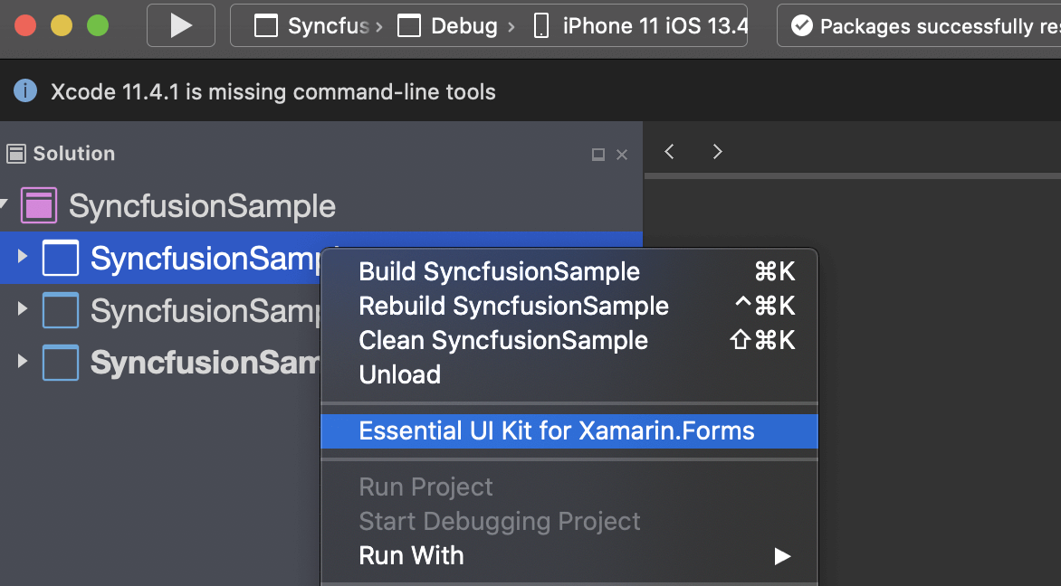 Select Essential UI Kit for Xamarin.Forms