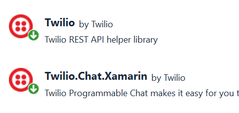 NuGet Packages for Twilio Chat control