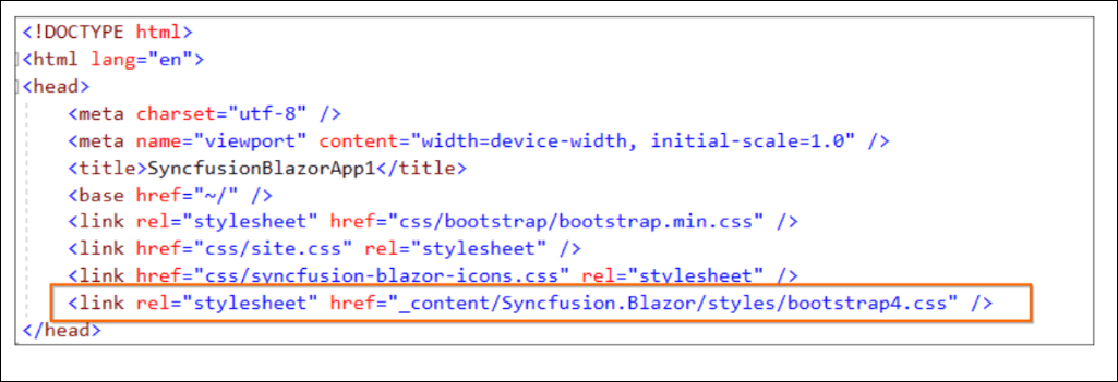 Syncfusion Styles Added in Blazor Project