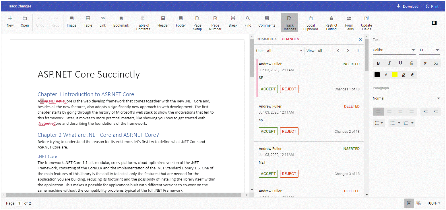 Track changes feature in Word Processor