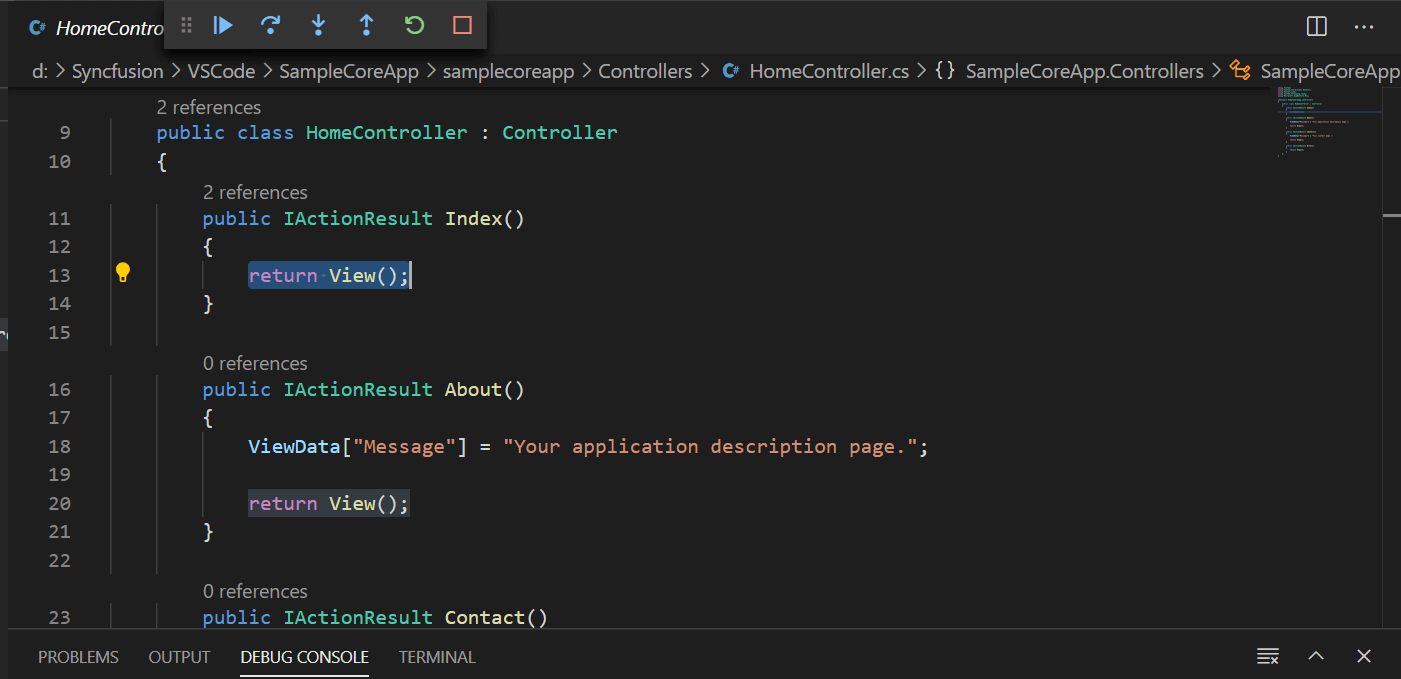 Code example to debug the source in VS Code