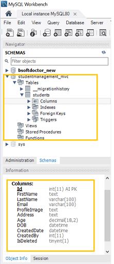MySQL database schema