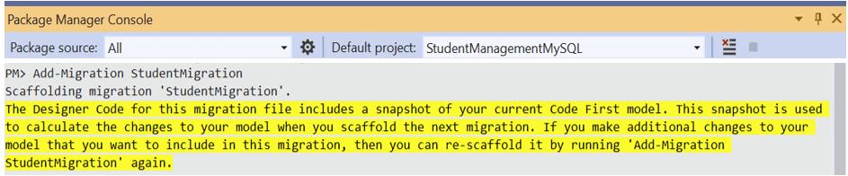 Run the Add-Migration StudentMigration command