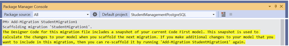 Run the Add-Migration StudentMigration1 command