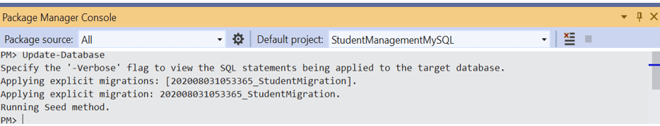 Run the Update-Database command