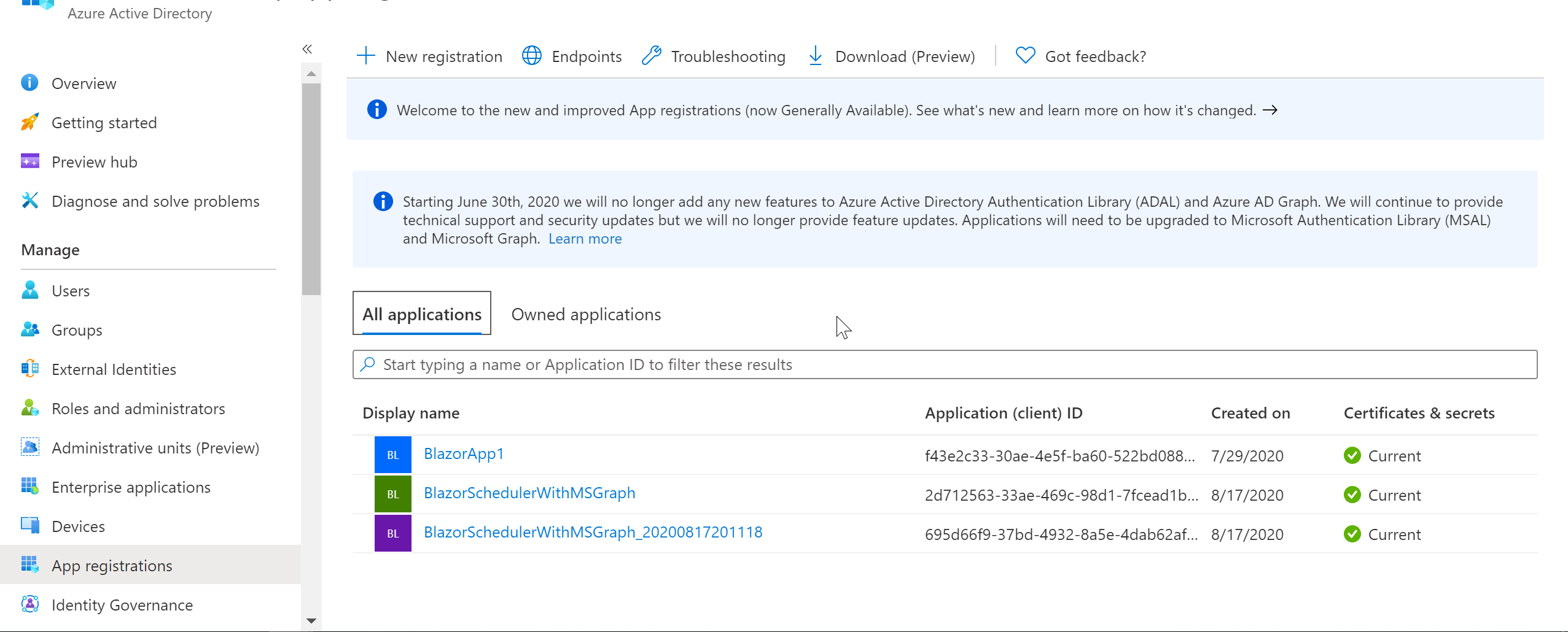 Select the App Registrations section from the Azure Active Directory