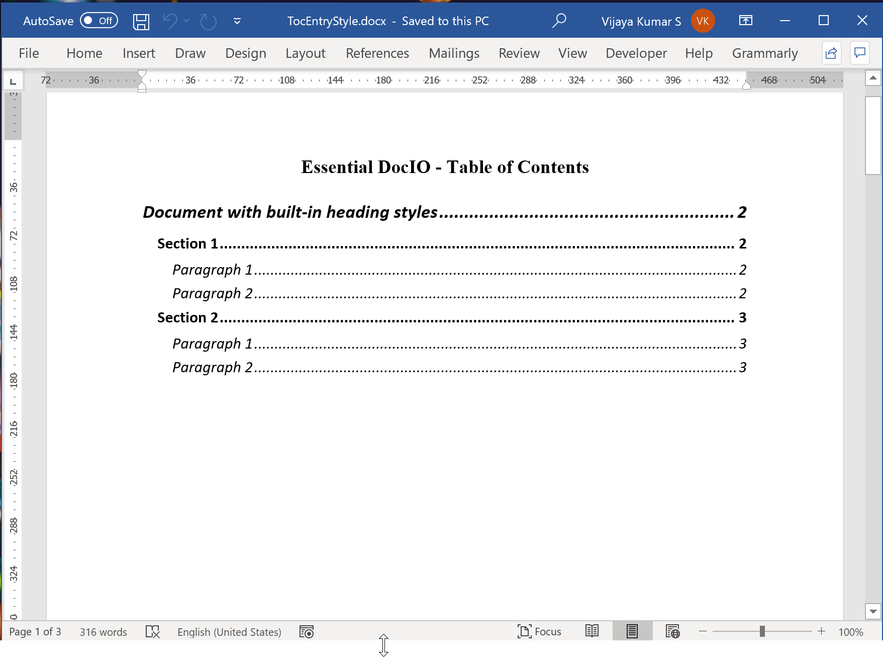 Table of Contents Entries with Custom Formatting
