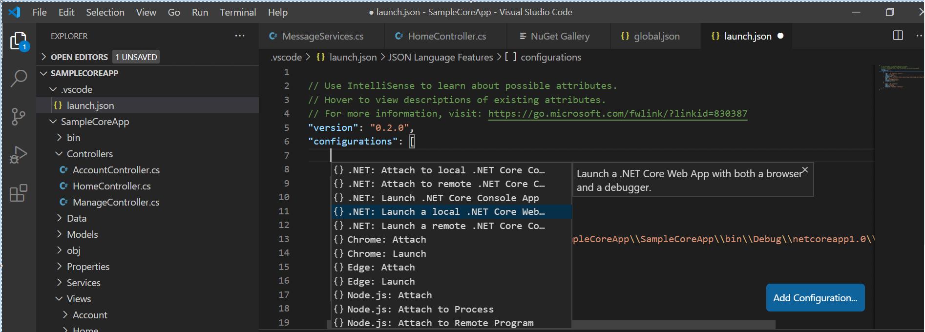 select the .NET Core Launch (web) configuration