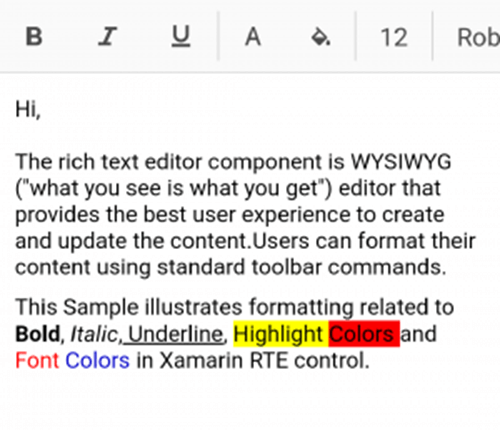 Toolbar placed at top in Rich Text Editor