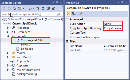 Adding Custom Dictionary File