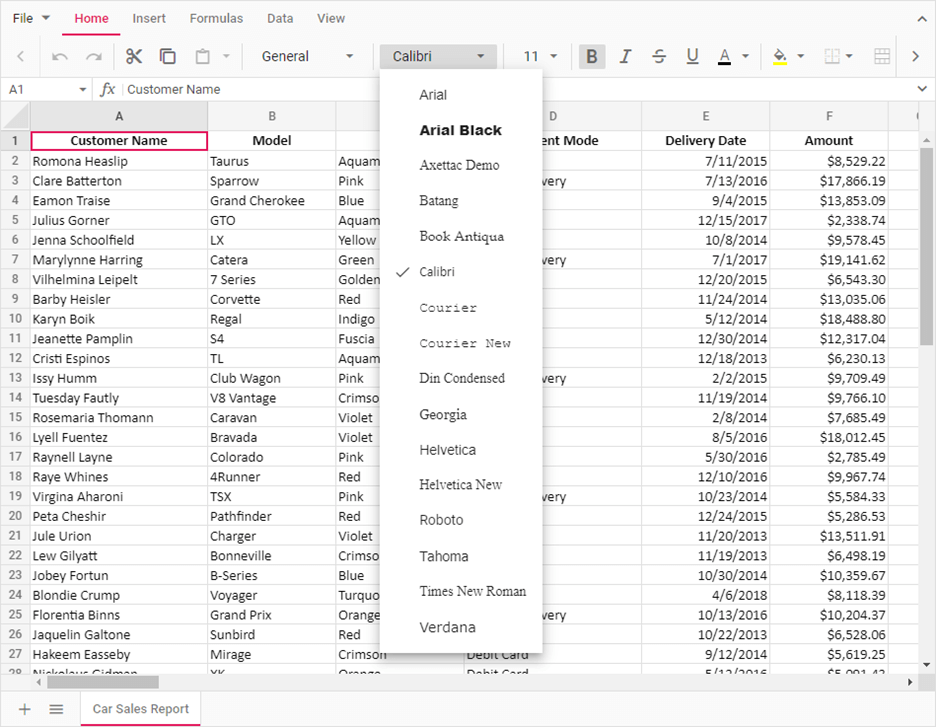 Cell Formatting Options in Home Tab