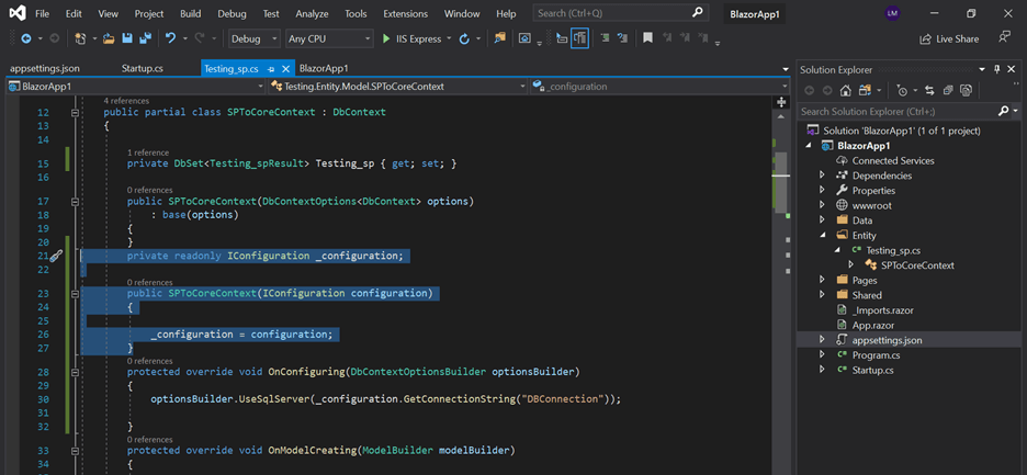 Inject the IConfiguration service into the automatically generated class