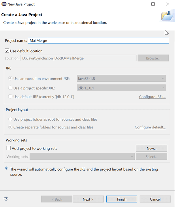 New Java Project wizard dialog