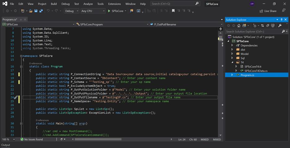 Open the program.cs file in the Solution Explorer